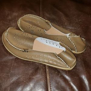 Tan & Gold - •Unknown•   Slip-On Shoes